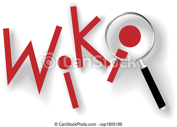 Wiki keys magnifying glass to find information - csp1805186