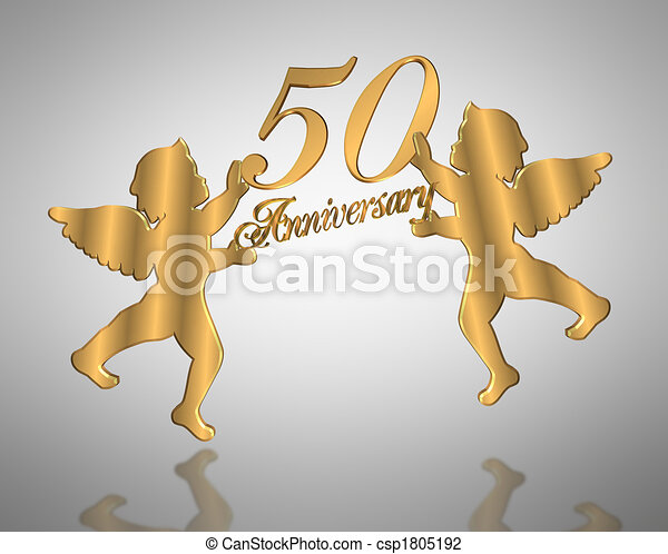 Stock Illustration 50th Wedding Anniversary angels