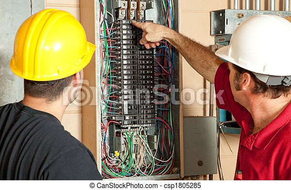 Electricians Replace 20 Amp Breaker - csp1805285