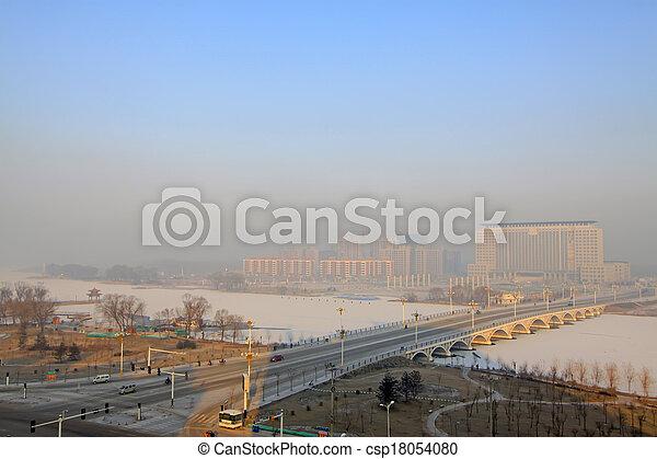 bridges and buildings in the snow  - csp18054080