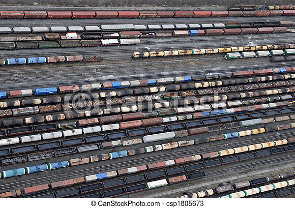 Many wagons and trains. Aerial view. - csp1805673