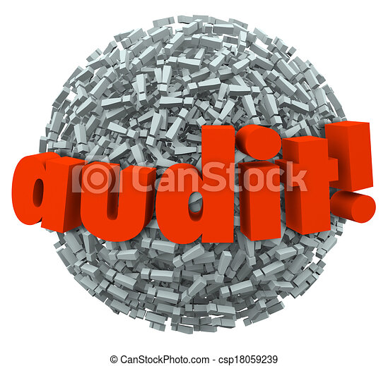 Audit Word Ball Anxiety Fear Tax Financial Accounting Practices - csp18059239