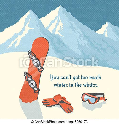 Snowboard winter mountain landscape - csp18060173