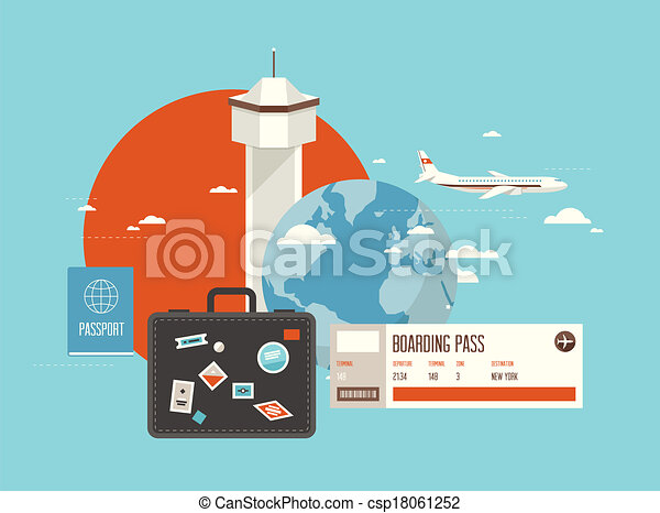 Clipart Vector of Flat illustration of travel on airplane Flat – Ticket Design Online Free