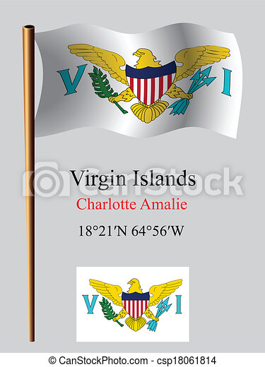 virgin islands wavy flag and coordinates - csp18061814