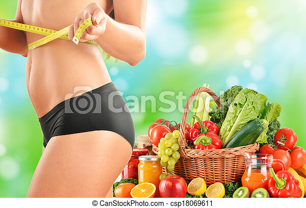 Dieting. Balanced diet based on raw organic vegetables - csp18069611