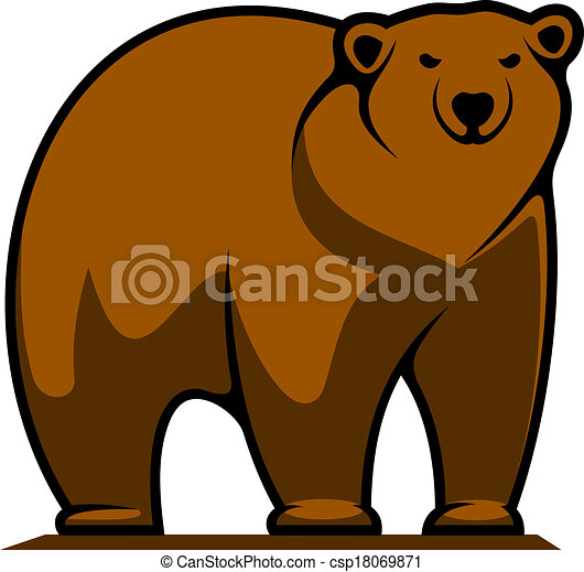 Big brown grizzly or brown Grizzly Bear Standing Clip Art