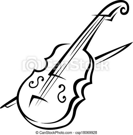 White Violin Drawing Vector Violin And Bow