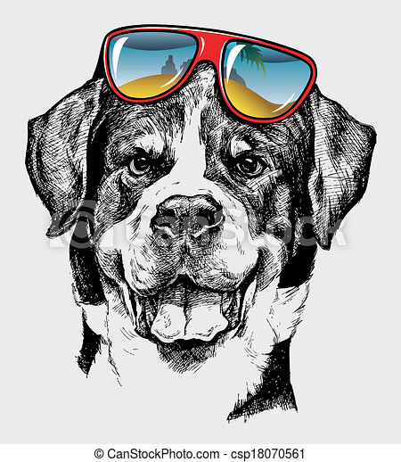 clip art vector of cool dog artistic drawing   artistic