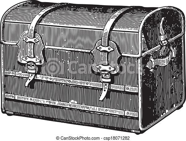 Vecteur de vieux coffre ancien gravure de une vieux - Coffre dessin ...