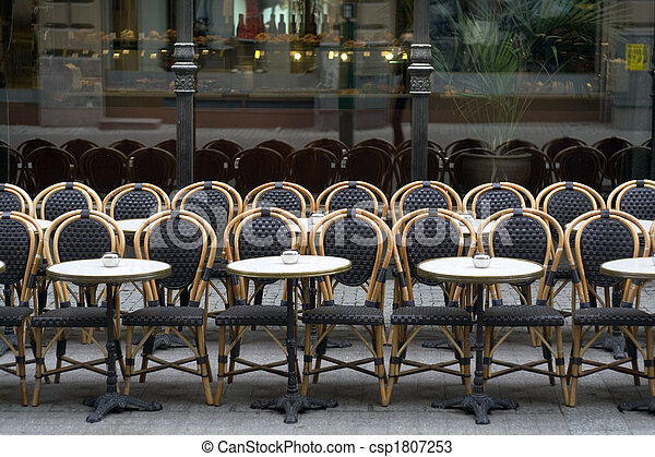 Chairs and tables at the street