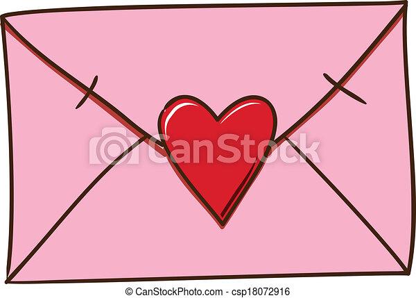 Vector Clip Art Of Love Letter Isolated On White
