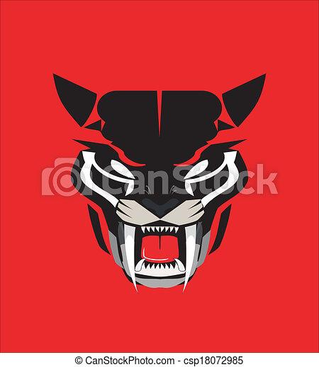 Panther Head Logos Roaring Black Panther Head
