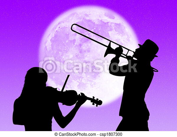 violino, trompete, jogadores, lua - csp1807300