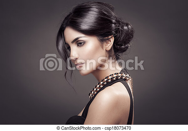 Fashion Portrait Of Beautiful Woman. Dark Background. - csp18073470