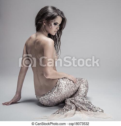 Fashion Fantasy Mermaid. Studio Shot. Gray Background. - csp18073532