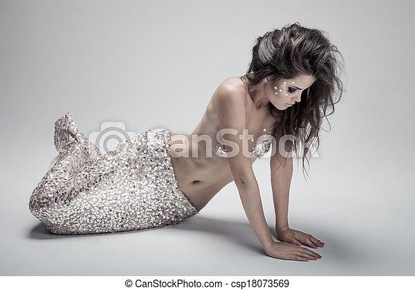 Fashion Fantasy Mermaid. Studio Shot. Gray Background. - csp18073569