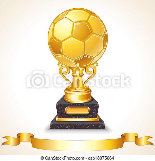 Abstract Golden Soccer Trophy. Vector Illustration - csp18075664