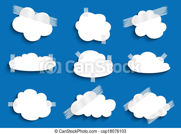 Paper cloud with scotch tape collection  - csp18076103