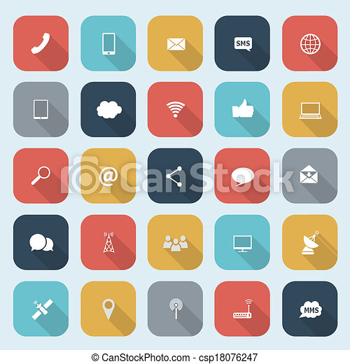 Trendy communication icons set in flat design with long shadows for web, mobile applications etc. Vector eps10 illustration - csp18076247