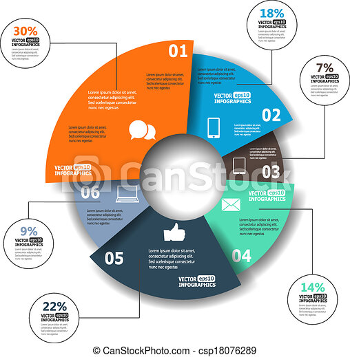 Modern paper infographics in a pie chart for web, banners, mobile applications, layouts etc. Vector eps10 illustration - csp18076289