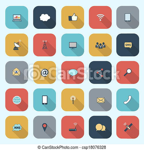 Trendy simple communication icons set in flat design with long shadows for web, mobile applications, social networks etc. Vector eps10 illustration - csp18076328