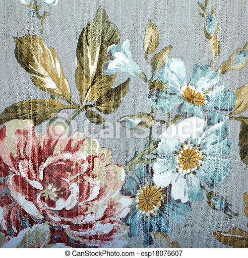blommig, Årgång, tapet, mönster - csp18076607
