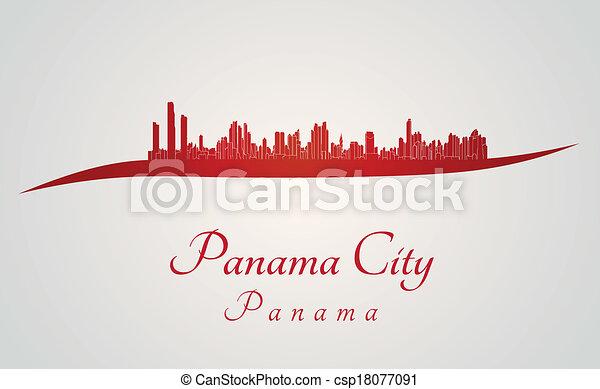 Panama City skyline in red - csp18077091