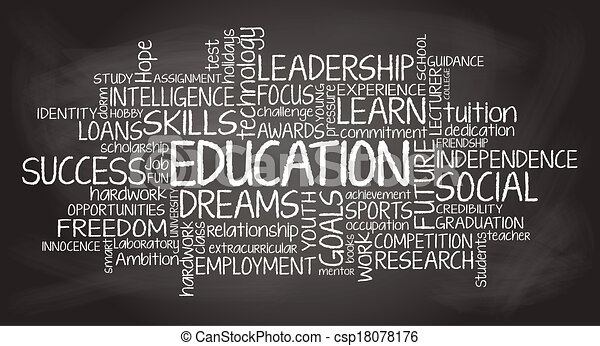 Education related tag cloud illustration - csp18078176