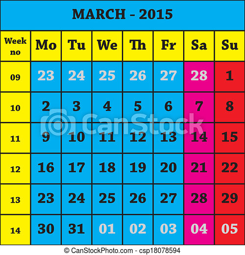 EPS Vectors of 2015 March Calendar ISO 8601 with week number ...