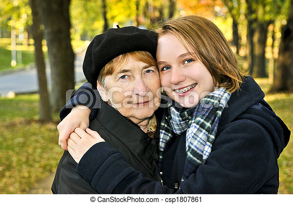Granddaughter hugging grandmother - csp1807861