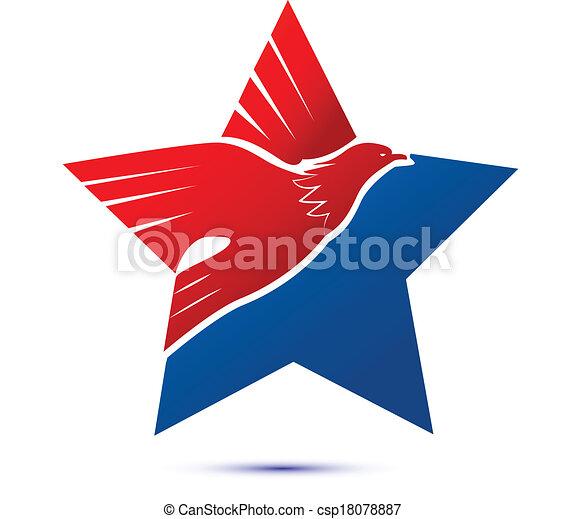 American flag-eagle star logo - csp18078887