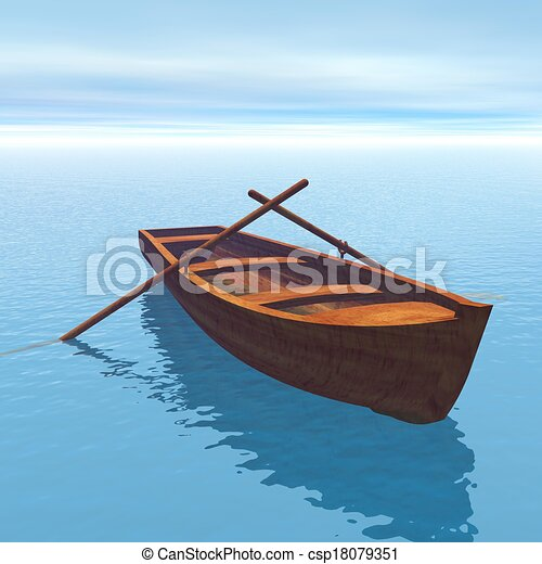 Stock Illustrations of Wood boat - 3D render - Wood boat on the water in green... csp18079351 ...