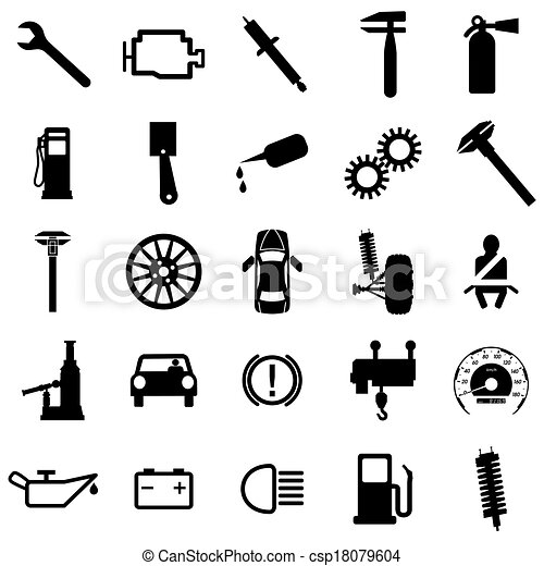 Collection flat icons. Car symbols. Vector illustration. - csp18079604