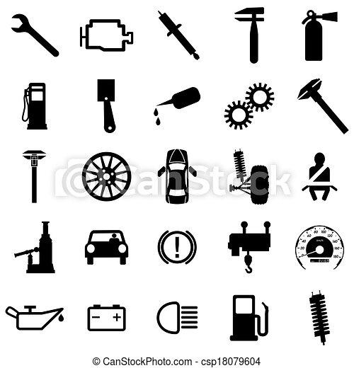 Collection flat icons. Car symbols. Vector illustration. - csp18079604