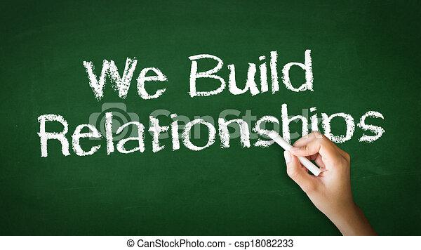 We Build Relationships Chalk Illustration - csp18082233