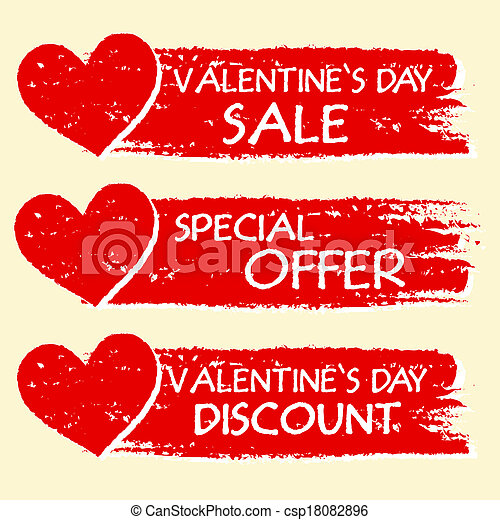 valentines day sale and discount, special offer - text with hearts in three red drawn banners - csp18082896