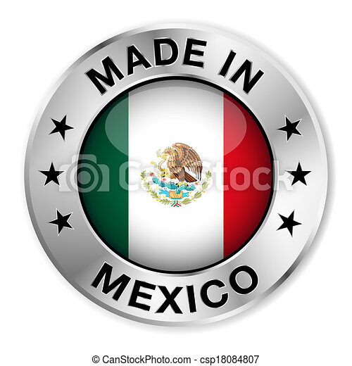 Vector Clipart Of Made In Mexico Silver Badge