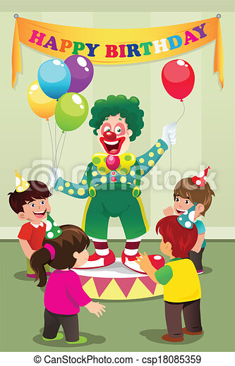 Clipart Vector Of Clown Carrying Balloons To Kids Birthday