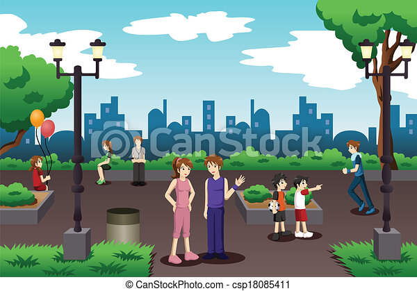 People in a city park doing everyday stuff - csp18085411