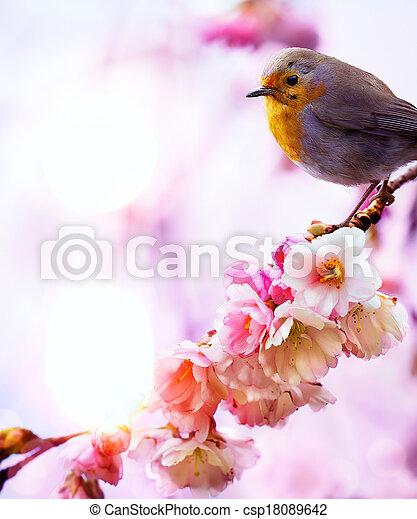 art beautiful spring morning nature background - csp18089642