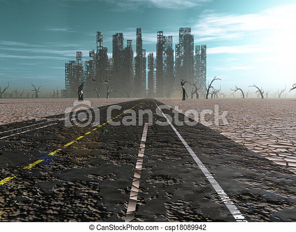 Weathered road leads into abandoned city - csp18089942