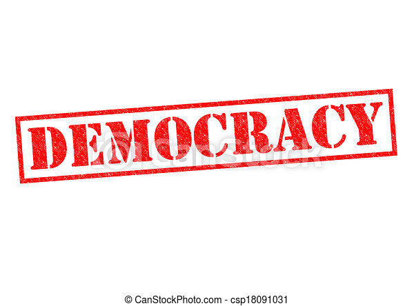 Drawings of DEMOCRACY red Rubber Stamp over a white ...