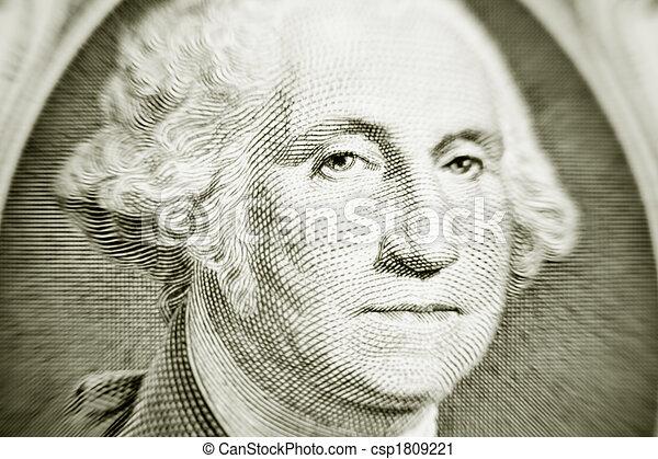 Likeness of George Washington on one dollar bill - csp1809221