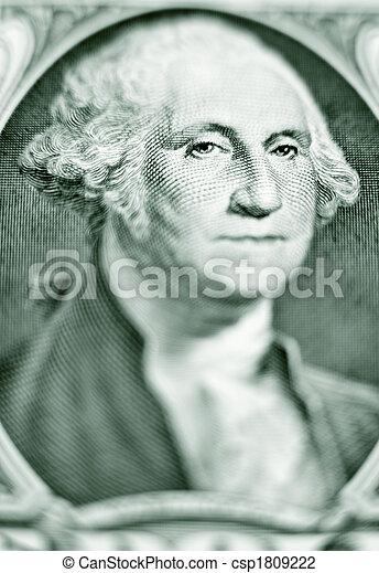 Likeness of George Washington on one dollar bill - csp1809222