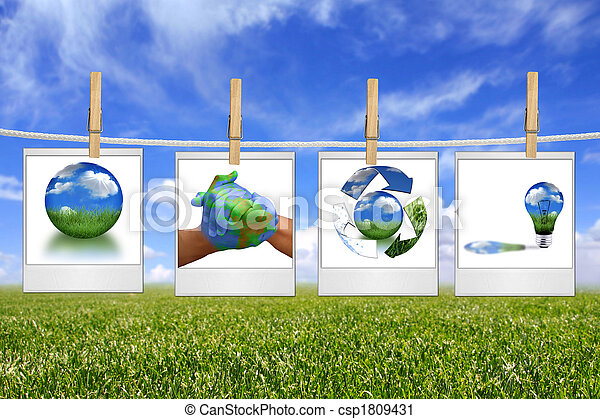 Green Energy Solution Images Hanging on a Rope - csp1809431