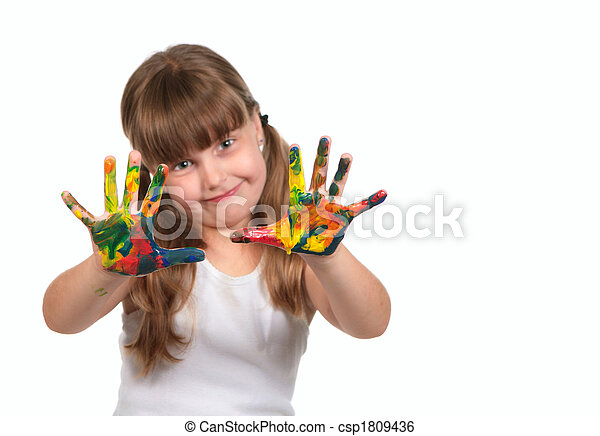 Smiling Day Care Preschool Child Painting With Her Hands - csp1809436