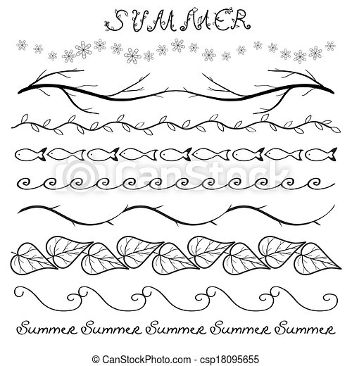 Clipart Vector of Summer hand drawn border set isolated on white ...
