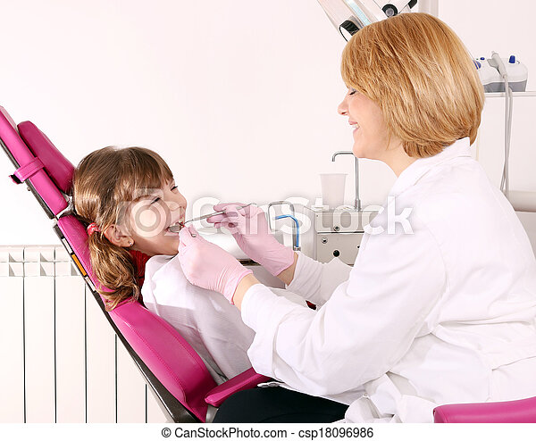 dentist and little girl patient dental exam - csp18096986