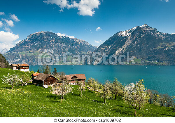 spring scenery at lake lucern - csp1809702